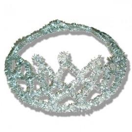 Corona espumillón plata