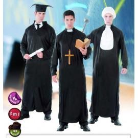 Disfraz Graduado Cura Juez 3 en 1