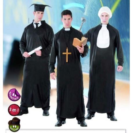Disfraz Estudiante Cura Juez 3 en 1