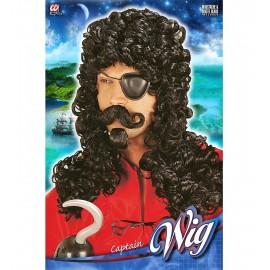 Peluca de Capitan Pirata Nere Hook con Bigote y Perilla