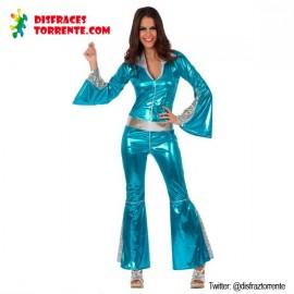 Disfraz Disco Mono Azul. Mujer