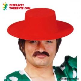 Sombrero Cordobés Rojo Flocado