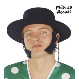 Sombrero Cordobés Plástico Flocado Negro Adulto.