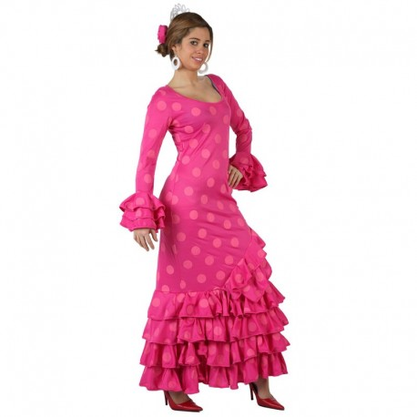 Disfraz de Sevillana fucsia a lunares