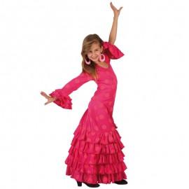 Disfraz de Sevillana Niña en Color Fucsia