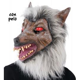Máscara de Lobo con Pelo