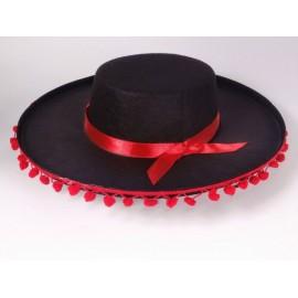 Sombrero Cordobés Fieltro Negro con Borlas Rojas