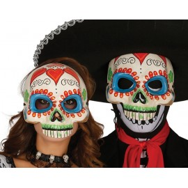 Media Careta Esqueleto Mejicano en Papel Mache