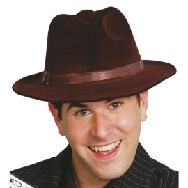 Sombrero Gangster Terciopelo Marrón