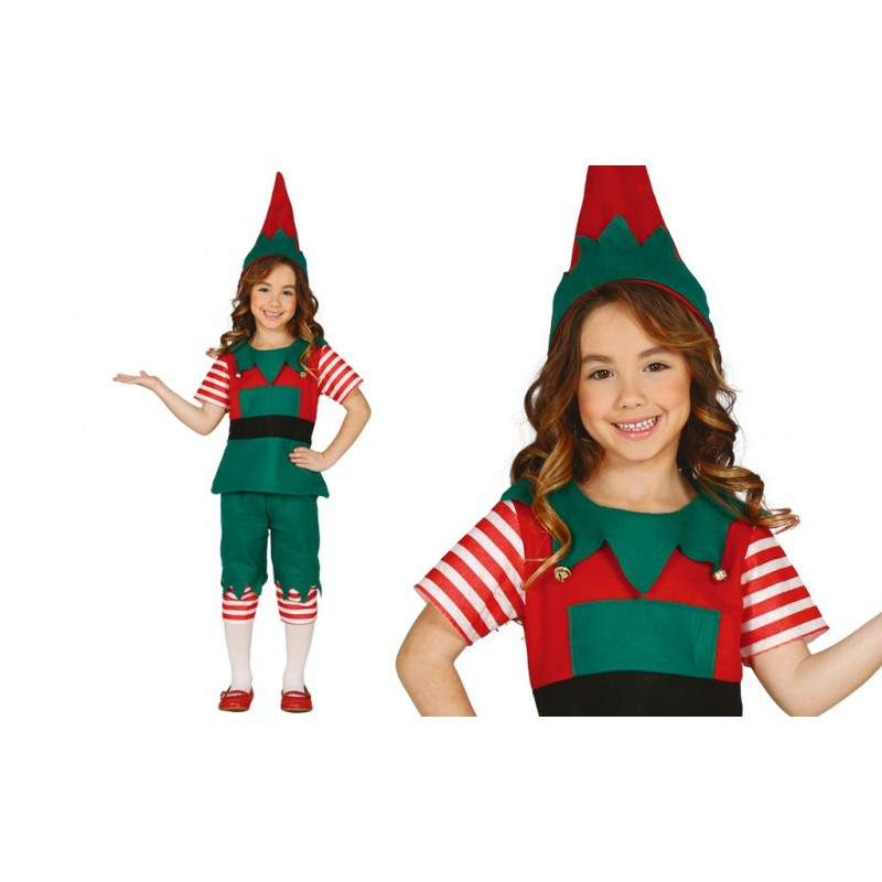 disfraz de elfa a rayas infantil