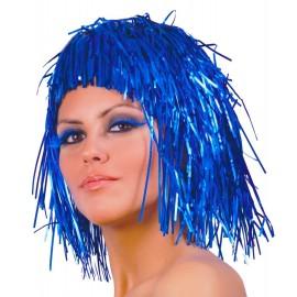 Peluca Brillante Disco Azul