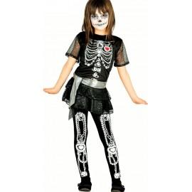 Disfraz de Esqueleto Brillante para niña.